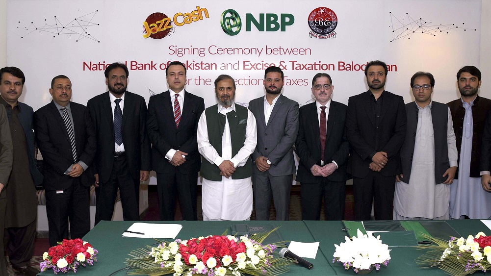 JazzCash,National Bank of Pakistan, Excise and Taxation Department, Balochistan, JazzCash Mobile Accounts,NBP President Saeed Ahmad, Faheem Mumtaz,NBP and JazzCash